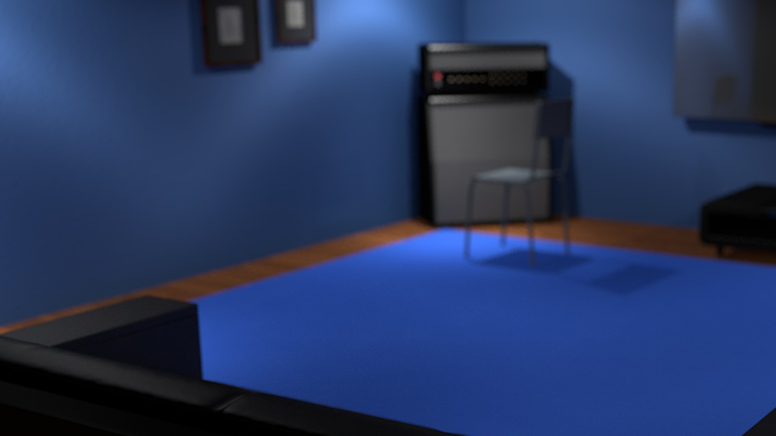 Blue room with couch, amp, rug. Made in Cinema 4d
