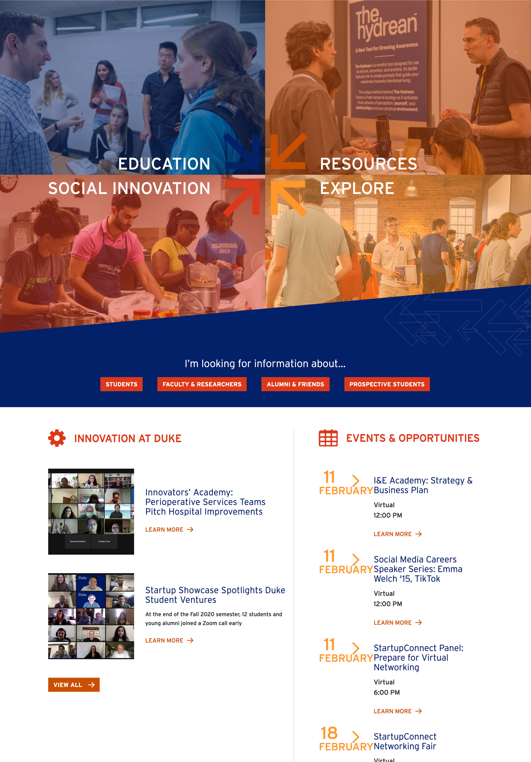 Orange and blue colored calendar of events image.