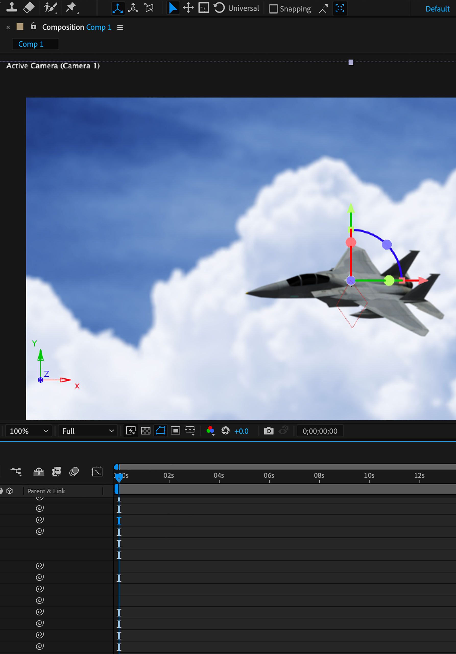 After Effects software editing 3D model of jet