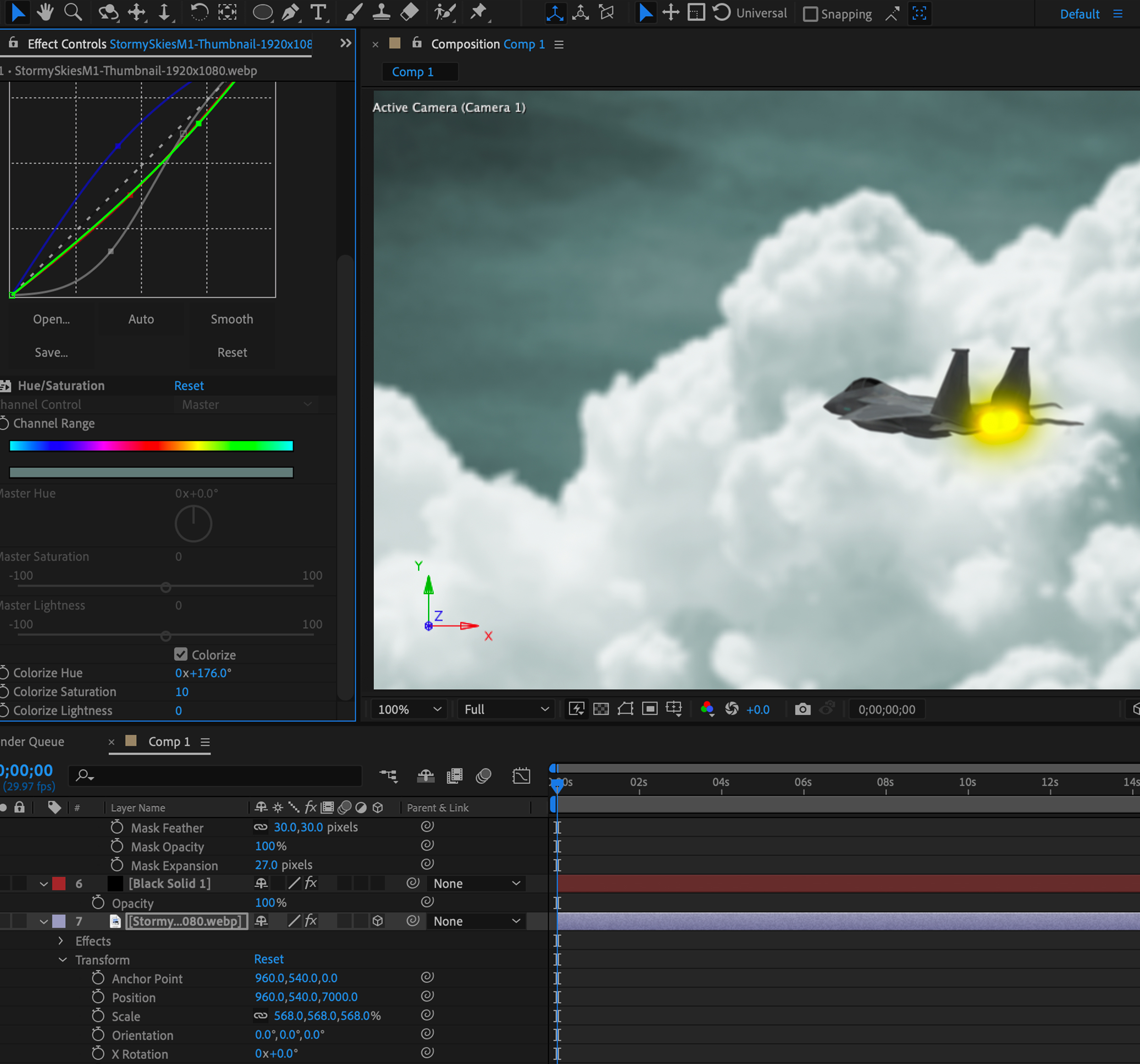 Fighter jet being edited in After Effects
