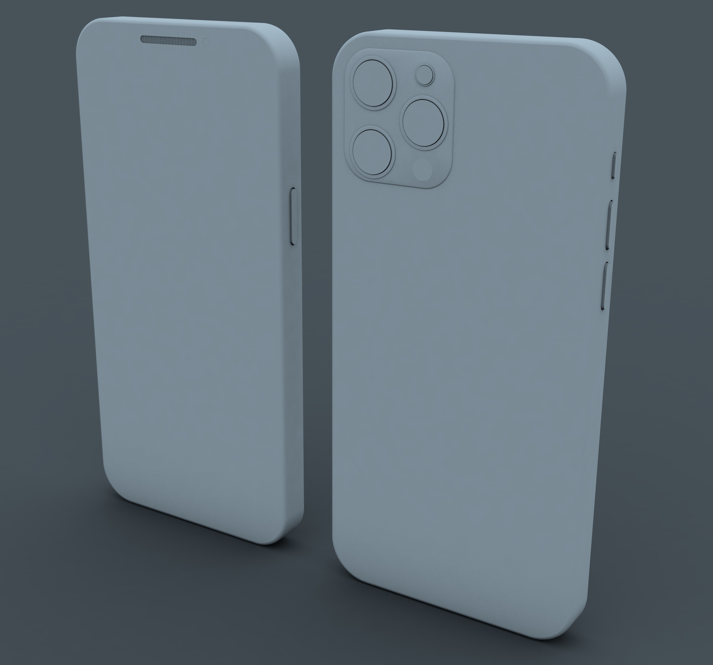 Two 3d phones standing up
