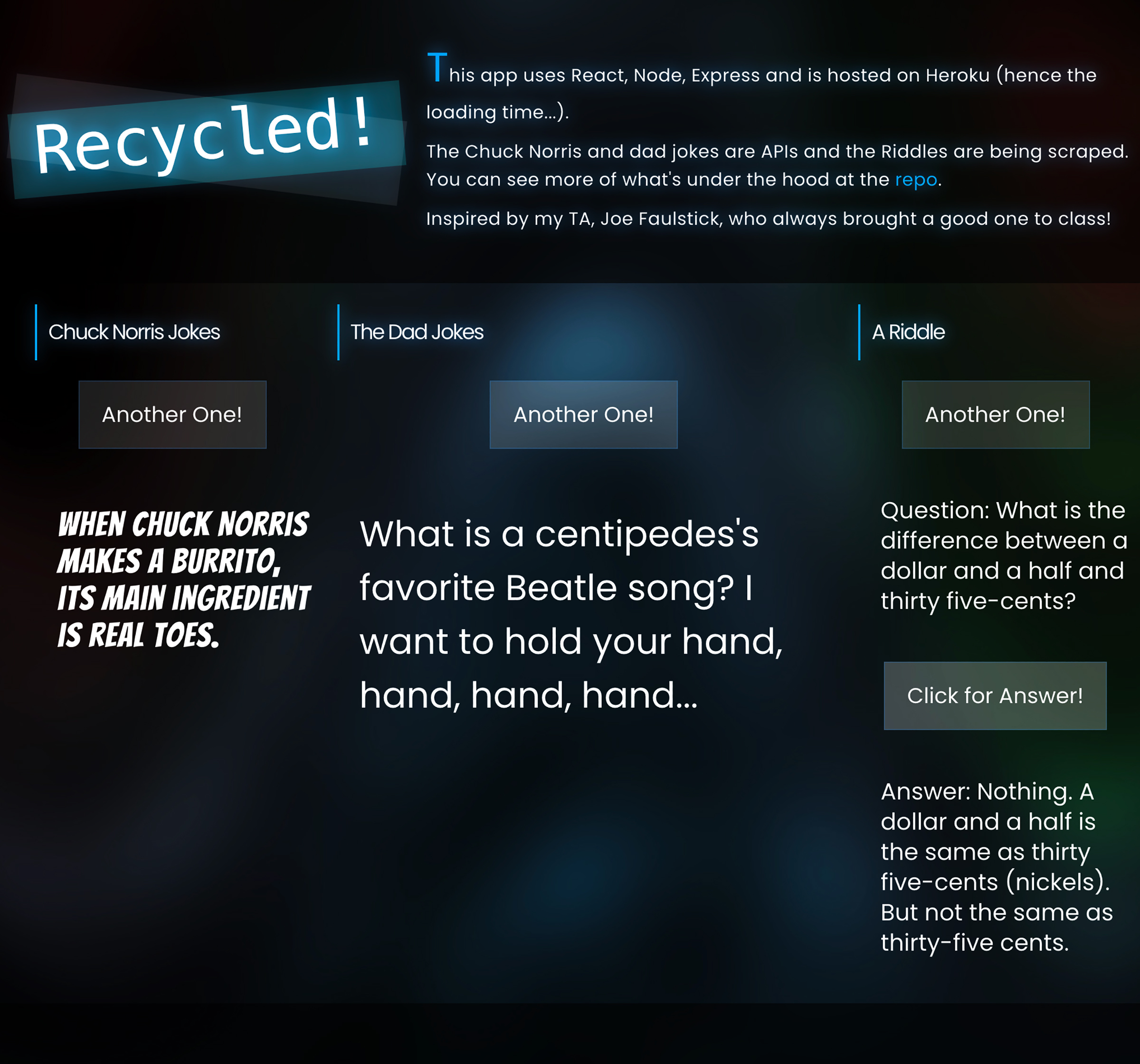 Image of Recycled app with dark background and 3 sets of jokes