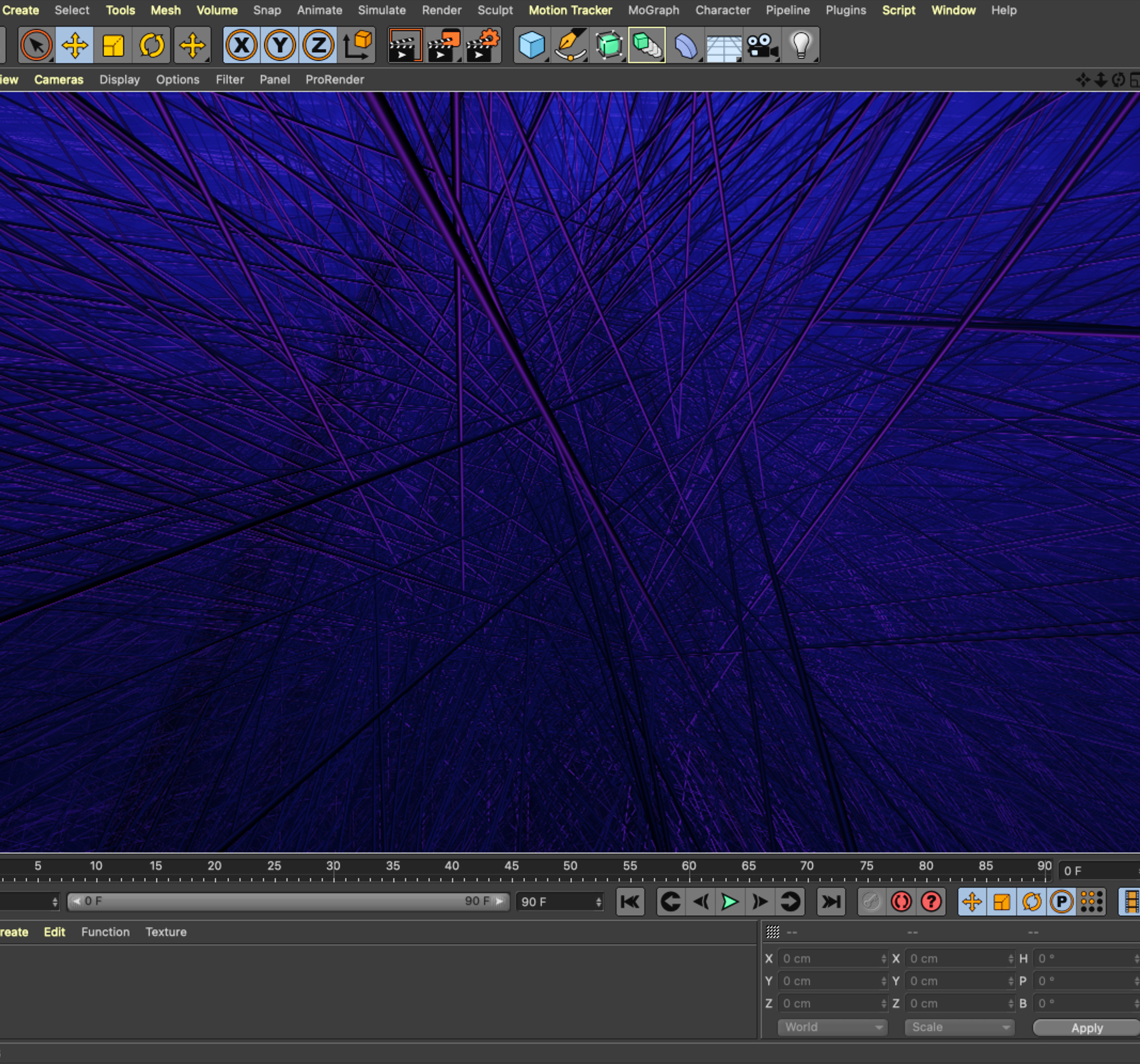 Rendered abstract pattern with blue and purple lights in Cinema 4D