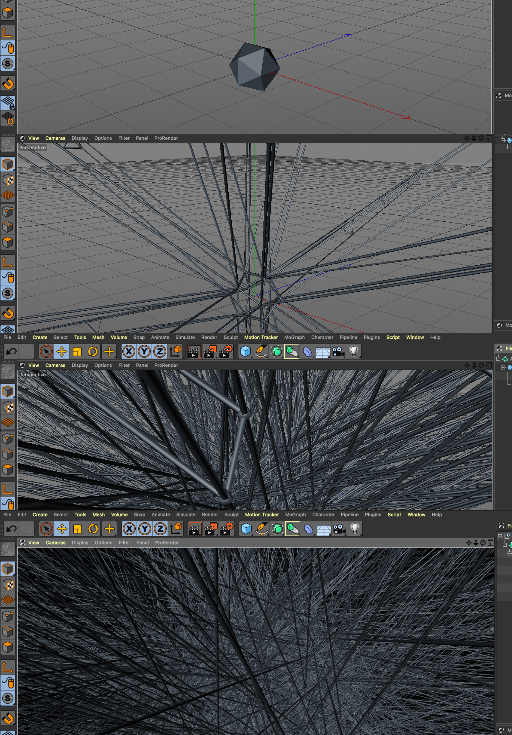 Screen shots of different steps in Cinema 4D making abstract pattern